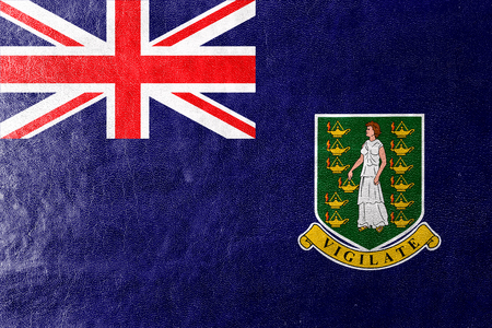virgin islands: Flag of British Virgin Islands, painted on leather texture Stock Photo