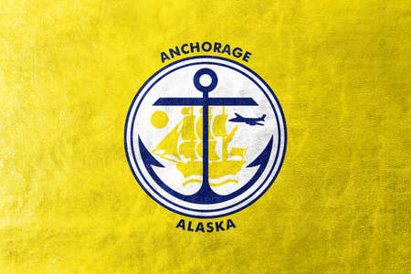 anchorage: Flag of Anchorage, Alaska, painted on leather texture Stock Photo