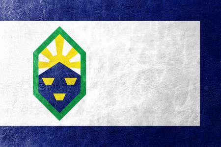 colorado springs: Flag of Colorado Springs, Colorado, painted on leather texture Stock Photo