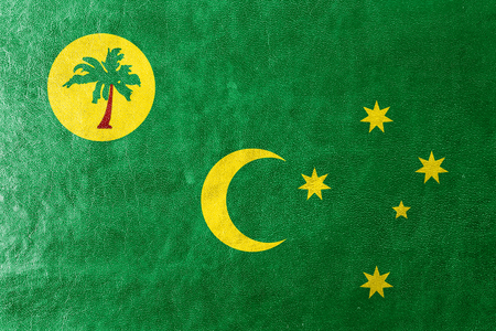 cocos: Flag of Cocos Islands, painted on leather texture