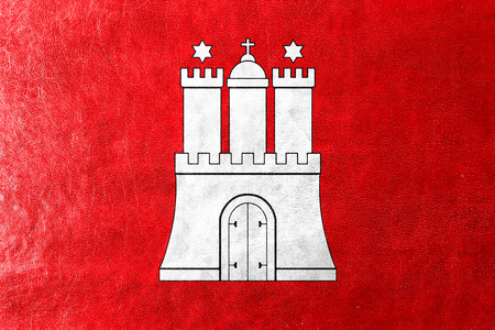 hamburg: Flag of Free and Hanseatic City of Hamburg, painted on leather texture