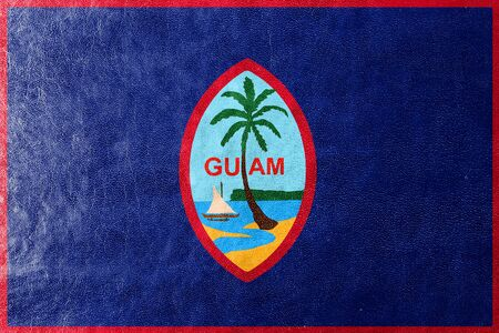 unincorporated: Flag of Guam, painted on leather texture