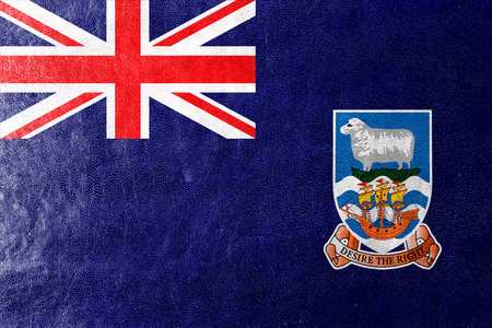 falkland: Flag of Falkland Islands, painted on leather texture