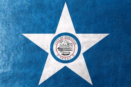 houston: Flag of Houston, Texas, painted on leather texture
