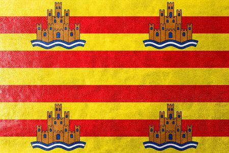 ibiza: Flag of Ibiza, painted on leather texture