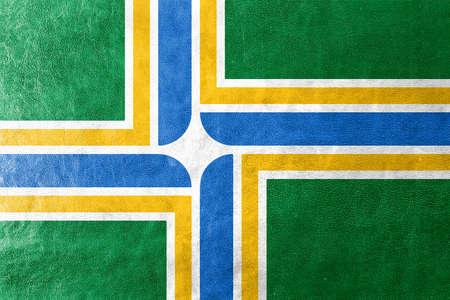 portland: Flag of Portland, Oregon, painted on leather texture