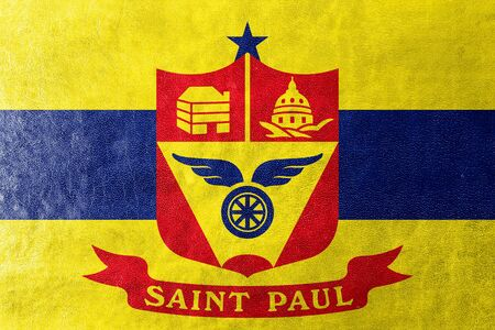 paul: Flag of Saint Paul, Minnesota, painted on leather texture