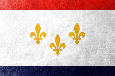 new orleans: Flag of New Orleans, Louisiana, painted on leather texture