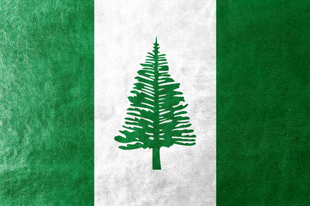 kingston: Flag of Norfolk Island, painted on leather texture Stock Photo