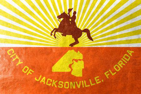 jacksonville: Flag of Jacksonville, Florida, painted on leather texture