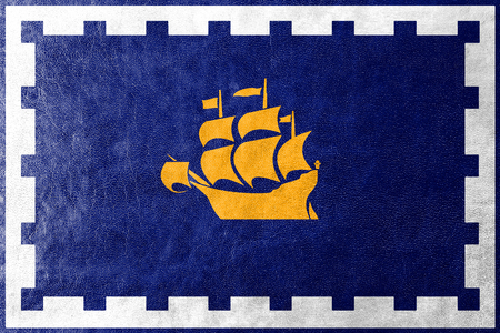 quebec city: Flag of Quebec City, painted on leather texture