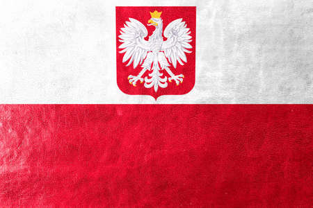 leather coat: Flag of Poland with Coat of Arms, painted on leather texture