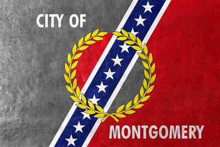 montgomery: Flag of Montgomery, Alabama, painted on leather texture