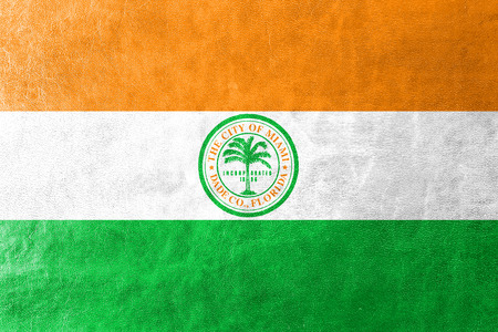 miami florida: Flag of Miami, Florida, painted on leather texture Stock Photo