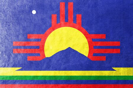 roswell: Flag of Roswell, New Mexico, painted on leather texture