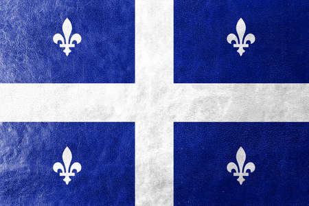 quebec: Flag of Quebec, painted on leather texture