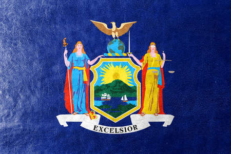 new york state: Flag of New York State, painted on leather texture