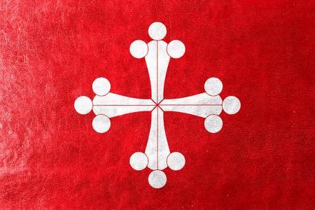 pisa: Flag of Pisa, painted on leather texture