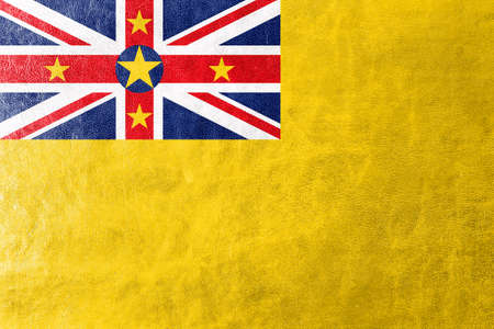 niue: Flag of Niue, painted on leather texture