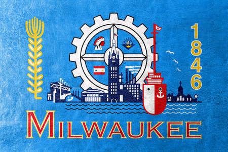 Milwaukee: Flag of Milwaukee, Wisconsin, painted on leather texture Stock Photo