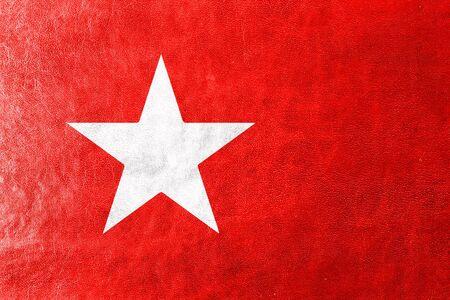 limburg: Flag of Maastricht, painted on leather texture Stock Photo