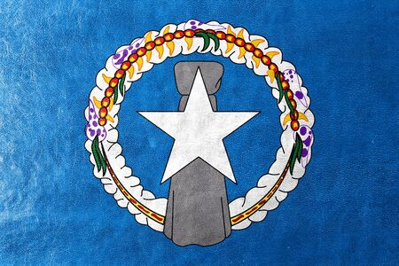 northern: Flag of Northern Mariana Islands, painted on leather texture Stock Photo