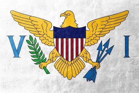 virgin islands: Flag of the U.S. Virgin Islands, painted on leather texture