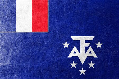 antarctic: Flag of the French Southern and Antarctic Lands, painted on leather texture Stock Photo