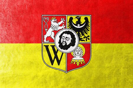 wroclaw: Flag of Wroclaw with Coat of Arms, painted on leather texture Stock Photo