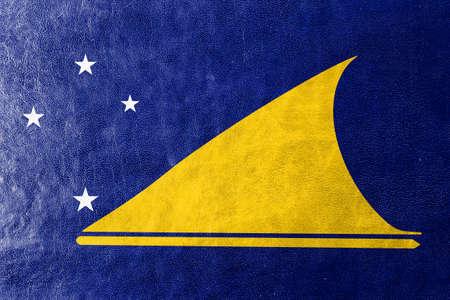 tokelau: Flag of Tokelau, painted on leather texture Stock Photo