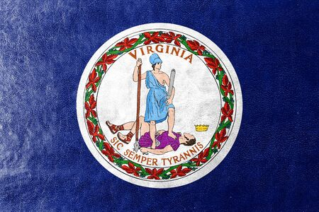 commonwealth: Flag of the Commonwealth of Virginia, painted on leather texture