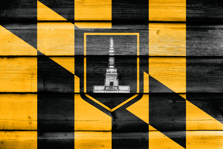 painted wood: Flag of Baltimore, Maryland, painted on old wood plank background