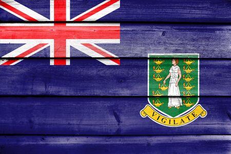 virgin islands: Flag of British Virgin Islands, painted on old wood plank background Stock Photo