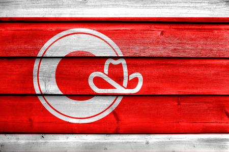 calgary: Flag of Calgary, painted on old wood plank background