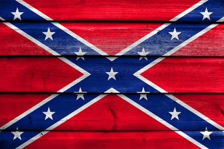 education policy: Confederate Flag, painted on old wood plank background