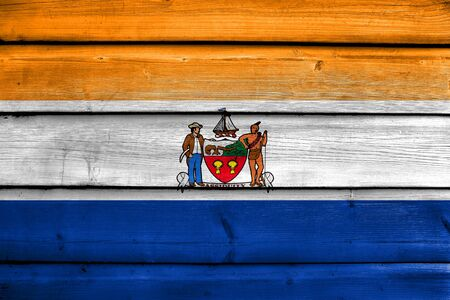 old new york: Flag of Albany, New York, painted on old wood plank background Stock Photo