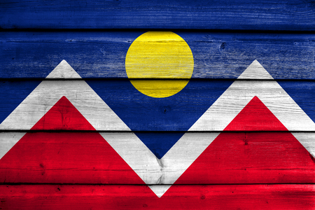 flag of colorado: Flag of Denver, Colorado, painted on old wood plank background Stock Photo