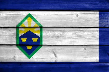 colorado flag: Flag of Colorado Springs, Colorado, painted on old wood plank background