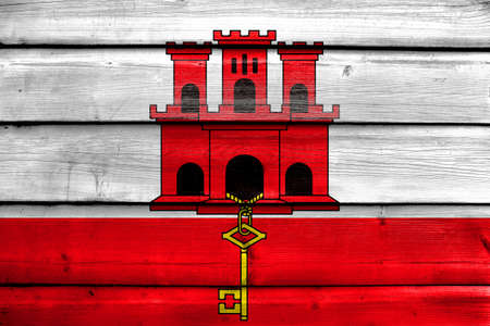 education policy: Flag of Gibraltar, painted on old wood plank background