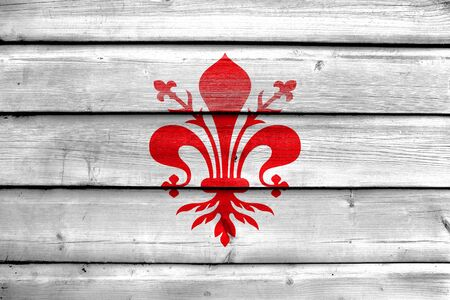 florence: Flag of Florence, painted on old wood plank background