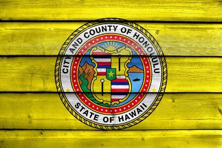 painted wood: Flag of Honolulu, Hawaii, painted on old wood plank background