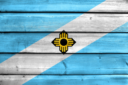 madison: Flag of Madison, Wisconsin, painted on old wood plank background Stock Photo