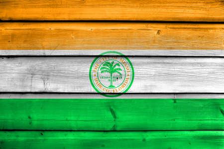 miami florida: Flag of Miami, Florida, painted on old wood plank background
