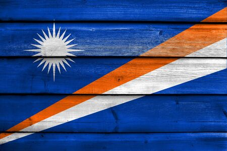 education policy: Flag of Marshall Islands, painted on old wood plank background