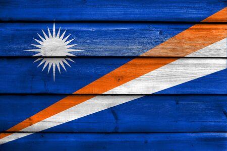 marshall: Flag of Marshall Islands, painted on old wood plank background