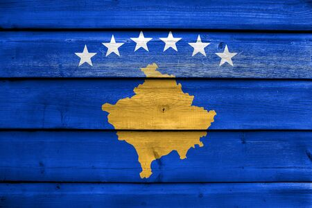 education policy: Flag of Kosovo, painted on old wood plank background