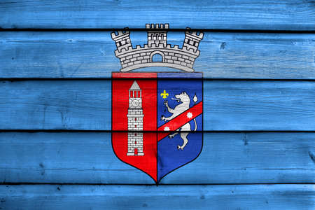 painted wood: Flag of Tirana, painted on old wood plank background