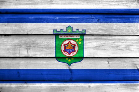 tel: Flag of Tel Aviv, painted on old wood plank background Stock Photo