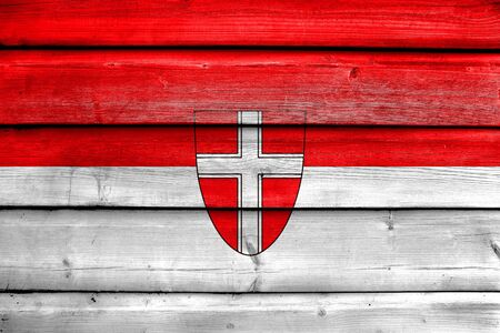 painted wood: Flag of Vienna State, painted on old wood plank background