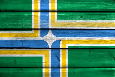 portland: Flag of Portland, Oregon, painted on old wood plank background